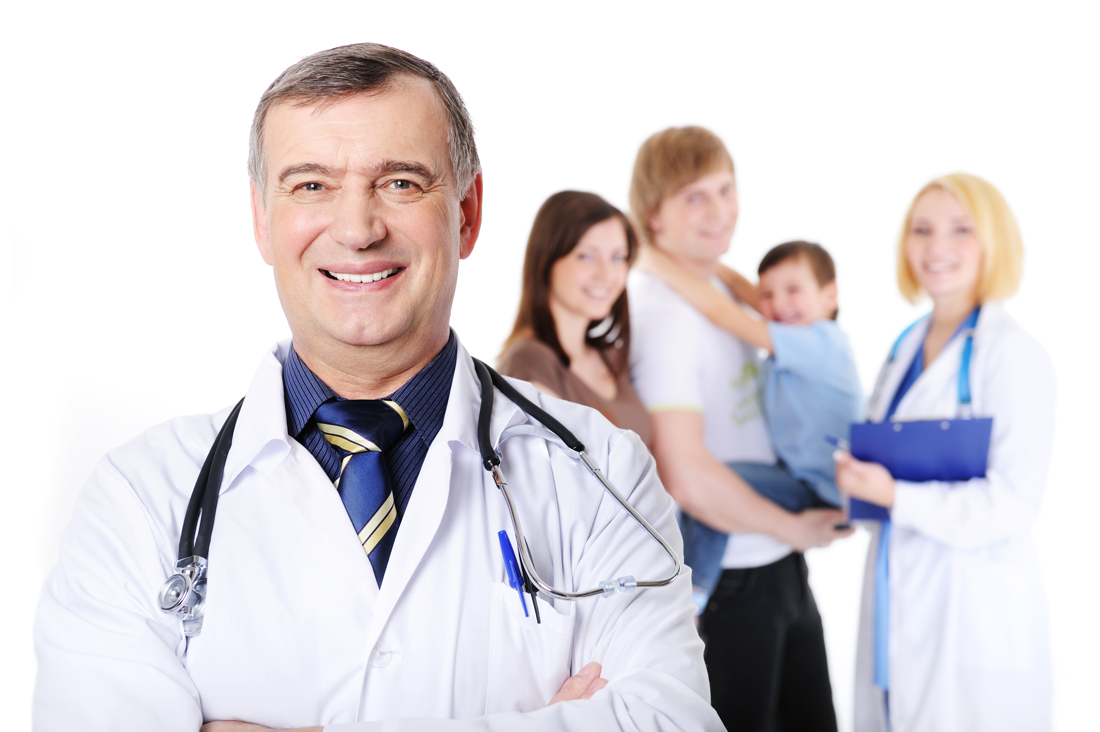 doctor and the young happy family with little son